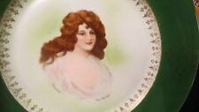 "vintage portrait plate / rare red head lady / artist signed / ""innocence"" czech."