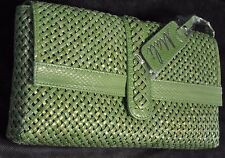 Mali NWT Green Woven Genuine Snakeskin Envelope Clutch w/Removable handle
