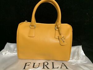 Furla Yellow Ginger Medium Top Handle Saffiano Leather Satchel Bag, NWT Italy