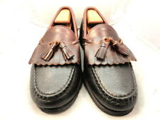 "Allen Edmonds Mens Shoes ""Nashua"" Tassel Loafers Black w/ Brown Trim 9.5 D (159)"