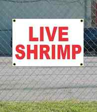 2x3 LIVE SHRIMP Red & White Banner Sign NEW Discount Size Price FREE SHIP