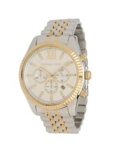 New Michael Kors Lexington Gold Silver Stainless Steel Chrono MK8344 Men's Watch
