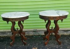 Vintage Carved Mahogany & Italian Marble Top Side Tables. Estate Pair.