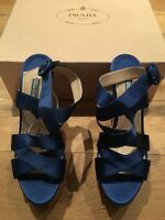 £690 Prada Blue Satin Cork Wedge Platform Sandals EU 39 1/2 39.5 UK 6.5 US 9.5