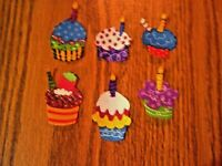 Party Cupcake  - 6 - Iron-On Fabric Appliques.  Small (B)