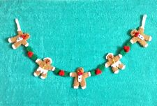 KNITTING PATTERN - Cute Christmas Gingerbread Man garland novelty Decoration