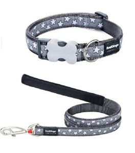 Red Dingo STAR Design Collar / Lead | SILVER GREY | Dog / Puppy | Sizes XS - LG
