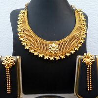 22K Gold Plated Indian 8'' Long Necklace Earrings Indian Nice Party SALE d