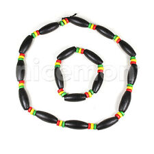 "Rasta Necklace Roots Bracelet Africa Selassie Rasta One Love Reggae Jamaica 18"""