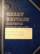 More details for gb sixpence complete collection 1902-1936 (37 coins f-vf) in whitman folder 216g