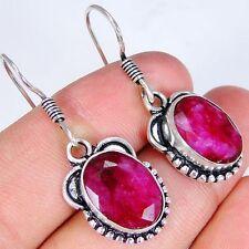 Ruby & 925 Silver Handmade Stylish Earrings 37mm & gift-box