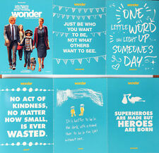 WONDER MOVIE FILM POSTCARDS x 6 - JULIA ROBERTS OWEN WILSON - R J PALACIO