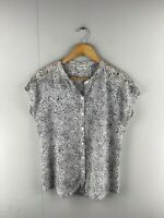 Jeanswest Womens Black White Sleeveless Casual Button Up Blouse Top Size 10