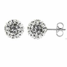 Sterling Silver Crystal Fireball Ice Stud Earrings Fairy Fire Ball 8.5mm