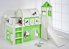 Lit mezzanine de lit Jelle blanc avec tour + Toboggan enfants Lilo Cheval Vert
