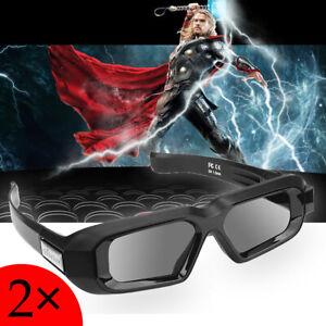 2x Blue-tooth Aktive Shutter 3D Brille für Epson Beamer Sumsang 3D TVs USB HD DE