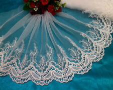 LOT 3 Yards Embroidery Tulle White Lace Trim Sewing/Craft Wide 8 ''