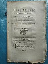 BARANTE : STATISTIQUE DU DEPARTEMENT DE L'AUDE, 1802.