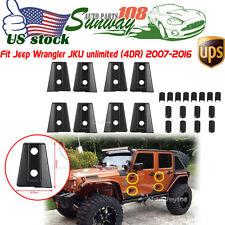 8PCS/SET Black Door Hinge Cover for Jeep Wrangler JK Unlimited 4Door 2007- 2017