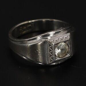 Sterling Silver ESPO ART DECO Joseph Esposito Topaz Men's Ring Size 10.75 - 11g