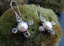 Sterling Silver .925 Handcrafted Cultured Pearl & Citrine Pastel Cross Earrings