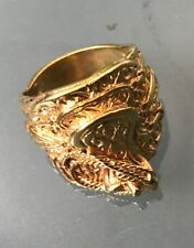 18ct GOLD PLATED GOLD ON SILVER SADDLE STYLE Ring Size Z1 Weight 21.2g HEAVY