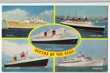 Ocean Liners Multiview PPC, Unused, By Salmon, c 1960's, inc Oriana, Queen Mary