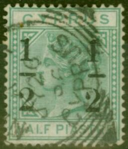 Cyprus 1886 1/2 on 1/2pi Emerald Green SG29c Large 2 at Left Fine Used