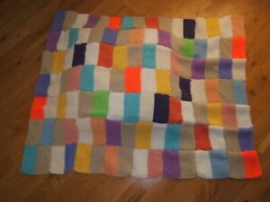 PAIR OF HAND MADE KNITTED BLANKETS