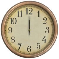 Large 35cm Round Wall Clock With Quartz Movement Brushed Gold & Black Frame