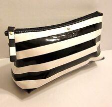 Kate Spade Black White Stripe Patent Cosmetic Make Up Bag Pochette Purse