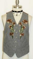 WOOL ~ GRAY German EMBROIDERED Women Fitted Dress Suit Coat Skirt VEST/38/2 4 XS