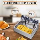 22L Electric Deep Fryer Large Tank Commercial Restaurant Stainless Steel 5000W photo