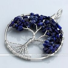 Lapis Lazuli Tree of Life Gems Handmade Wire Wrap Beads Pendant Jewerly Necklace