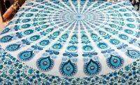Traditional Cotton Blue-White Mandala Print BedSheet.