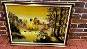 Rodriquez Retro Signed Landscape Framed-Oil on Velvet-Lynch Style-Early 1970s.