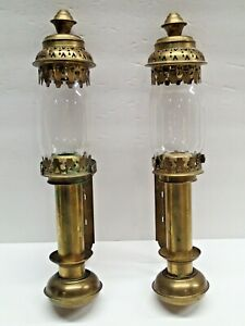 Vintage Pair Of Railway Train Carriage Wall Sconces Candle Brass Glass