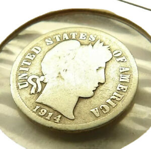 1914 BARBER DIME SILVER COIN + FREE SHIPPING!