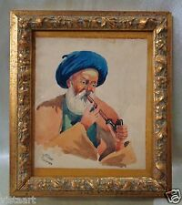 """Signed 1950's Persian Watercolor Painting w/ Gold Antique Style Frame 7.5x8.5"""""""