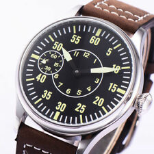 46mm Corgeut ( PARNIS ) pilot hand winding movement watch black dial stainess st