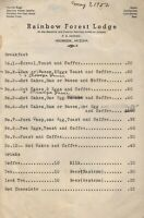 Vintage RAINBOW FOREST LODGE Breakfast Menu Holbrook Arizona 1952