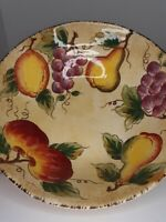 Fruition Tabletops Lifestyles Hand Painted Large Ceramic Serving Bowl Fruit