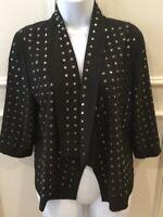 Blaque Label Blazer Jacket Size Medium Black Open Front Studs Embellished Rivets