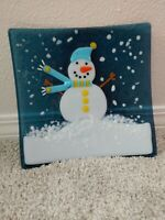 """Fused Art Glass Snowman Square 8"""" Plate winter colorful snow candy dish trinket"""