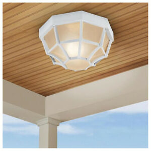 Exterior Outdoor Porch Flush Mount Ceiling 1 Light Fixture White RUST RESISTANT