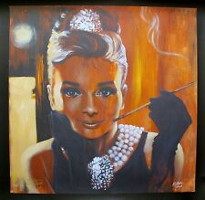 STEPHEN FISHWICK AUDREY HEPBURN Hand Signed Large Giclee Art on Canvas BREAKFAST