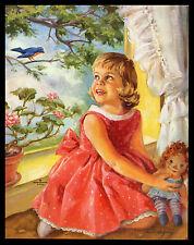"""A VISIT WITH BLUEBIRD"" CALENDAR ART PRINT BY ARIANE BEIGNEUX (1918-2011)"
