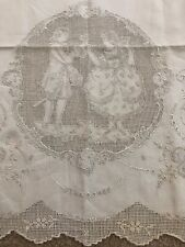 APPENZELL RUNNER Hand Embroidered Lady Gentleman Man Woman Figural Antique Vtg