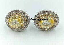 5.0 Carat Yellow Color Oval Shape Light Topaz Women's Wedding Silver Earring
