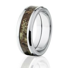 Official RealTree Max 1 8mm Wide Rings, Titanium Camouflage Rings